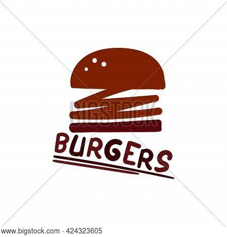 Burger Sandwich Illustration Design Logo Vector. Burger Logo Restaurant