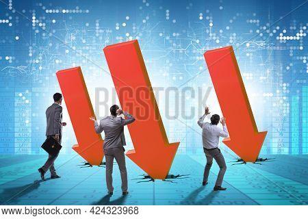 Businessman in economic crisis concept