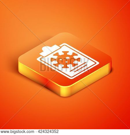 Isometric Medical Clipboard With Blood Test Results Icon Isolated On Orange Background. Clinical Rec