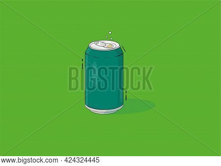 Illustration Dark Green Tin Can On A Light Green Background. Quench Your Thirst.concept On The Theme