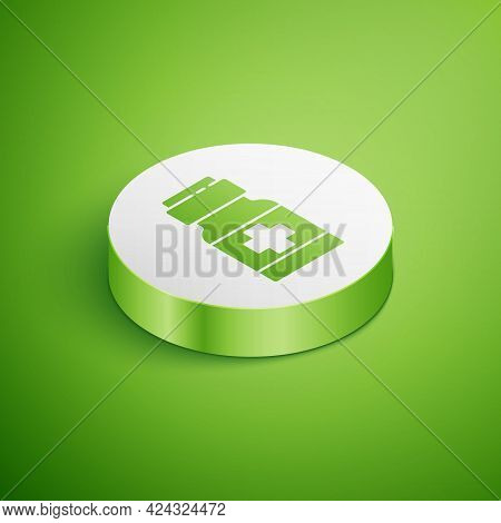 Isometric Medicine Bottle And Pills Icon Isolated On Green Background. Medical Drug Package For Tabl