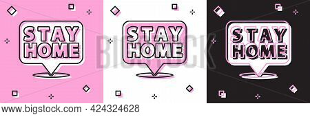 Set Stay Home Icon Isolated On Pink And White, Black Background. Corona Virus 2019-ncov. Vector.