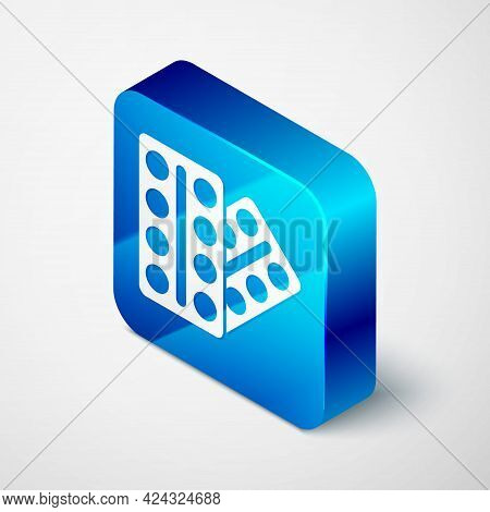 Isometric Pills In Blister Pack Icon Isolated On Grey Background. Medical Drug Package For Tablet, V