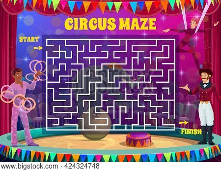 Labyrinth Maze Game On Shapito Circus Vector Background. Kids Education Square Maze Puzzle, Logic Ri