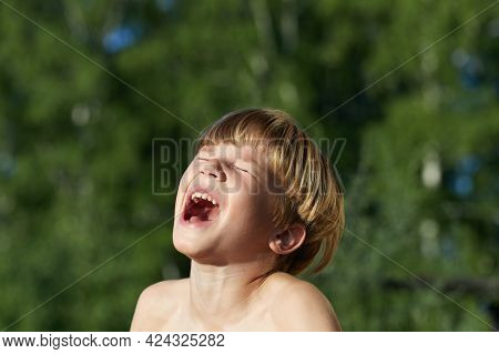 Upset, Sad And Crying Little Caucasian Boy With Blonde Hair. Shouts Loudly In Outdoor, Expressing Di