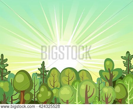 Flat Forest. Illustration In A Simple Symbolic Style. Sunrise. Funny Green Rural Landscape. Comic De