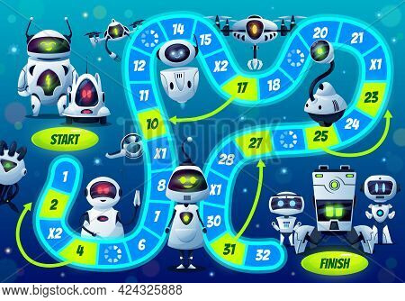 Kids Boardgame With Robots And Droids, Vector Step Board Game With Cute Ai Cyborgs, Block Path, Numb
