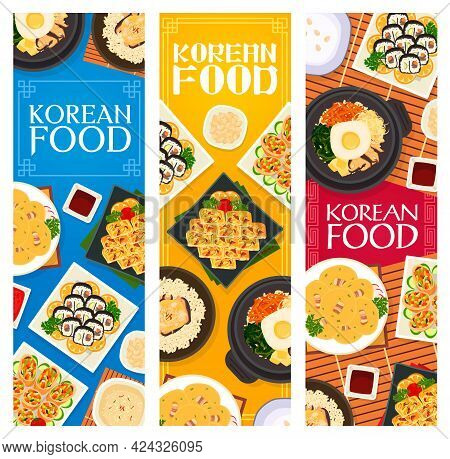 Korean Cuisine Vector Milk Dessert Bingsu, Chicken Mushroom Rice, Bean Pancakes With Bacon And Omele