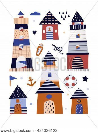 Vector Illustration. Poster On The Marine Theme. Sailboat On The Waves Sailors Hat, Anchor. Lifebuoy