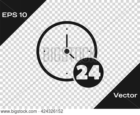 Black Clock 24 Hours Icon Isolated On Transparent Background. All Day Cyclic Icon. 24 Hours Service