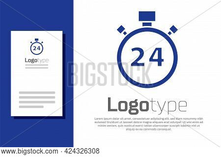 Blue Stopwatch 24 Hours Icon Isolated On White Background. All Day Cyclic Icon. 24 Hours Service Sym