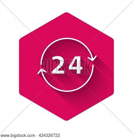 White Clock 24 Hours Icon Isolated With Long Shadow. All Day Cyclic Icon. 24 Hours Service Symbol. P