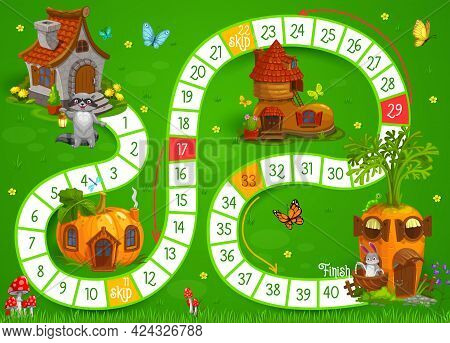 Cartoon Animals And Fairy Houses Vector Kids Boardgame Or Puzzle. Educational Dice Game, Puzzle, Rid