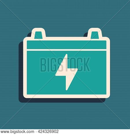 Green Car Battery Icon Isolated On Green Background. Accumulator Battery Energy Power And Electricit