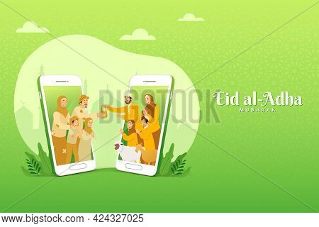 Eid Al Adha Greeting Card. Muslim Family Sharing The Meat Of Sacrificial Animal For Poor People Thro