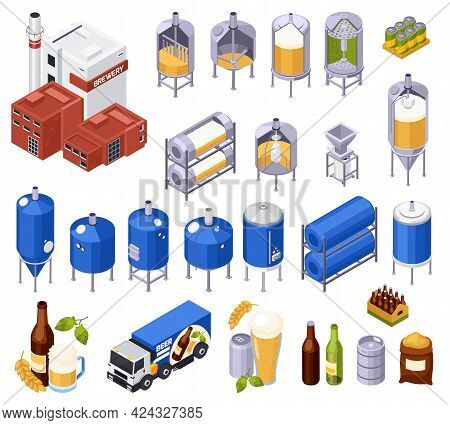 Set Of Isolated Brewery Beer Production Isometric Icons And Isolated Images Of Facilities With Ready