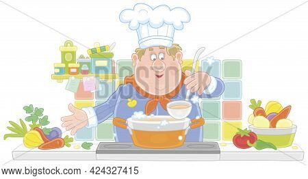 Funny Chef Cooking An Original Tasty Soup With Fresh Vegetables And Spices In His Cozy Kitchen, Vect