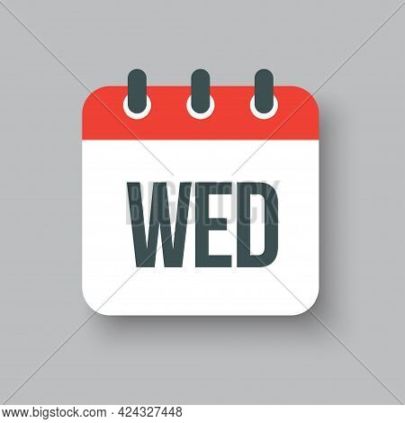 Vector Icon Page Calendar, Day Of Week Wednesday