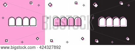 Set Dentures Model Icon Isolated On Pink And White, Black Background. Teeth Of The Upper Jaw. Dental