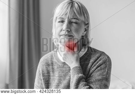 Sick Senior Adult Elderly Women Touching The Neck Feeling Unwell Coughing With Sore Throat Pain.heal