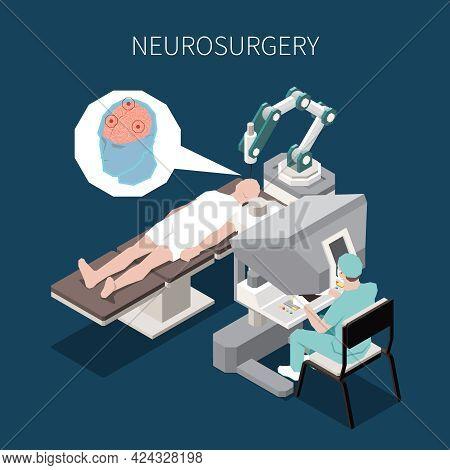 Robotic Surgery Isometric Composition With Neurosurgery Operation Symbols Vector Illustration