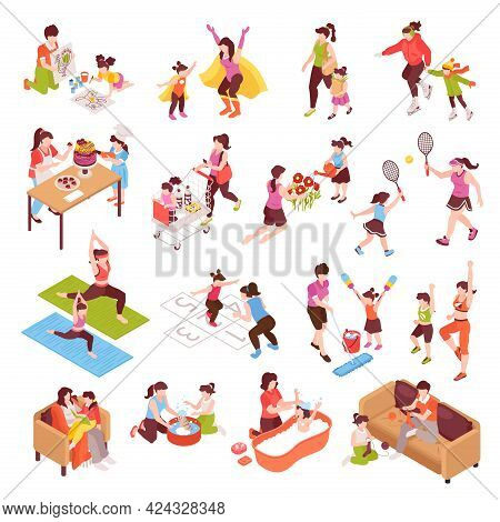 Motherhood Isometric Icons Set With Family And Sport Symbols Isolated Vector Illustration