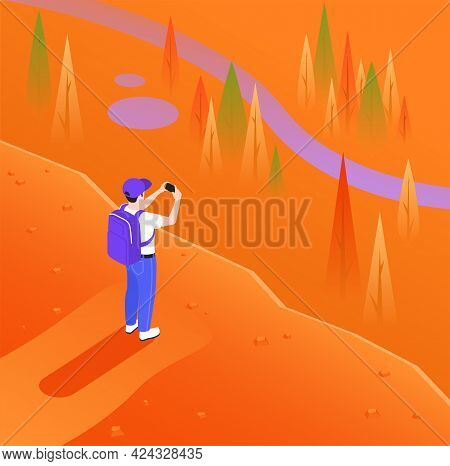 Man In Blue Pants On Orange Background Photographing Cliff On Mobile Isometric Vector Illustration