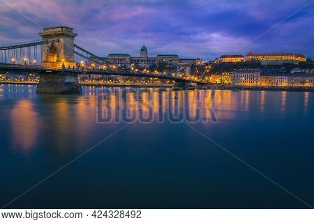 One Of The Best European Travel Destination. Picturesque Cityscape View With Admirable Chain Bridge