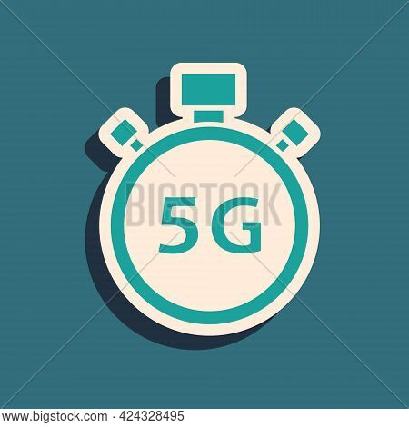 Green Digital Speed Meter Concept With 5g Icon Isolated On Green Background. Global Network High Spe