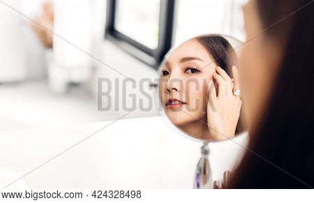 Smiling Of Cheerful Beautiful Pretty Asian Woman Beauty Clean Fresh Healthy White Skin Posing In Whi