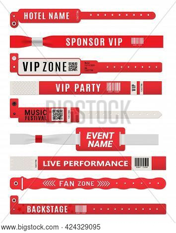 Wristband Bracelets, Event Entrance Pass Mockup. Plastic Tags, Bands For Arm Or Security Badge Vecto