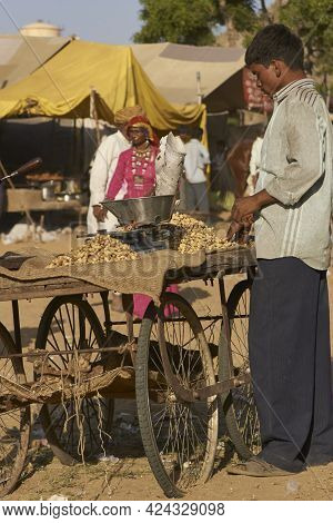 Pushkar, Rajasthan, India - November 7, 2008: Street Food At The Annual Pushkar Fair In Rajasthan, I