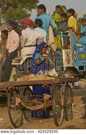 Pushkar, Rajasthan, India - November 9, 2008: Street Food At The Annual Pushkar Fair In Rajasthan, I