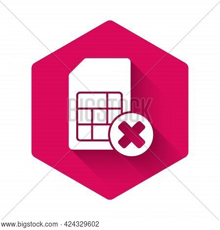 White Sim Card Rejected Icon Isolated With Long Shadow. Mobile Cellular Phone Sim Card Chip. Mobile