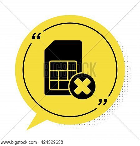 Black Sim Card Rejected Icon Isolated On White Background. Mobile Cellular Phone Sim Card Chip. Mobi