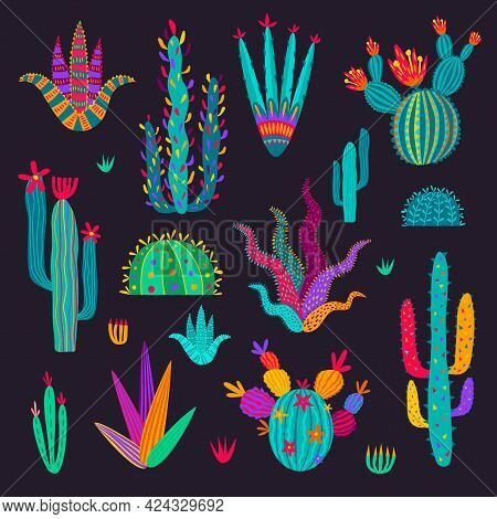 Cartoon Mexican Cactus, Vector Cacti In Colorful Doodle Style Isolated On Background. Desert Cactus