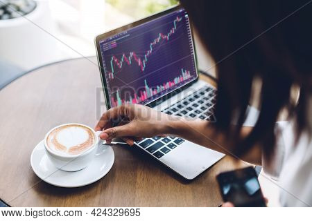 Successful Of Business Trader Investor Woman Use Technology Of Laptop Trading Graph Of Block Chain S