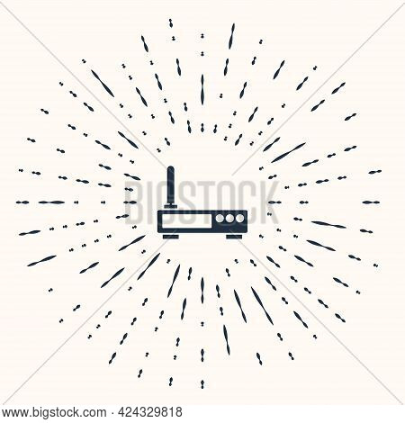 Grey Router And Wi-fi Signal Icon Isolated On Beige Background. Wireless Ethernet Modem Router. Comp