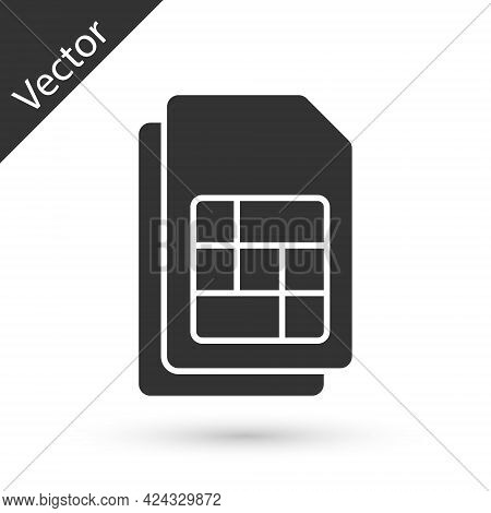 Grey Sim Card Icon Isolated On White Background. Mobile Cellular Phone Sim Card Chip. Mobile Telecom
