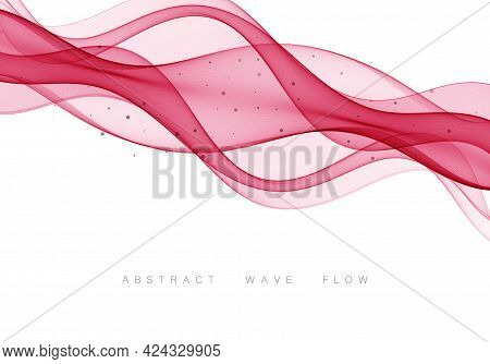 Abstract Red Waves Background Bright Red Background With Curved Lines. Vector Abstract Red Backgroun