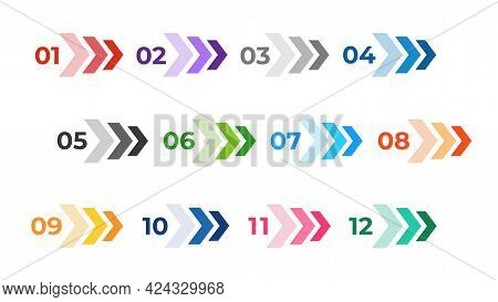 Colourful Arrows Set Isolated On White. Direction Number Bullet Points From One To Twelve.