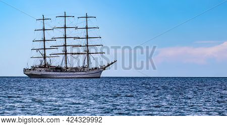 Sailing Ship In The Sea Without Sails. Selective Focus