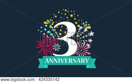 3 Rd Anniversary Template For Banner Design. Wedding Floral. Stock Vector