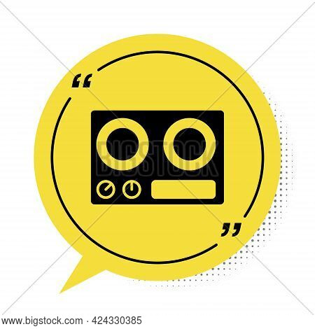Black Gas Stove Icon Isolated On White Background. Cooktop Sign. Hob With Four Circle Burners. Yello