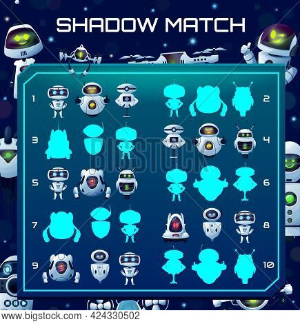 Robots Shadow Match Kids Game With Cartoon Cyborgs Silhouettes. Vector Children Logic Riddle With An