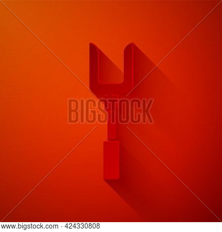 Paper Cut Barbecue Fork Icon Isolated On Red Background. Bbq Fork Sign. Barbecue And Grill Tool. Pap