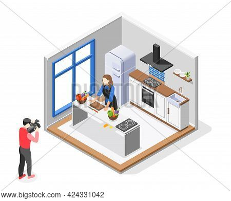 Cooking Show Isometric Composition Cameraman With Video Camera Filming Chef Cooking For A Show Vecto