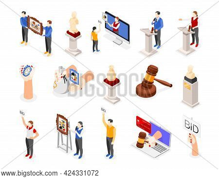 Auction Isometric Icon Set Different Attributes Of Auction And Staff Making Sure All It Works Proper