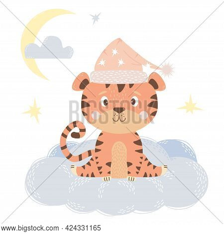 Cute Little Tiger Girl In A Pink Night Cap Sits On A Cloud In The Sky With Stars And The Moon. Vecto