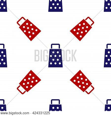 Blue And Red Grater Icon Isolated Seamless Pattern On White Background. Kitchen Symbol. Cooking Uten
